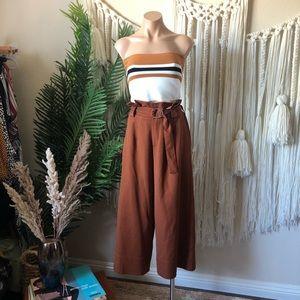 Lush Stripe Knit Bandeau Crop Top